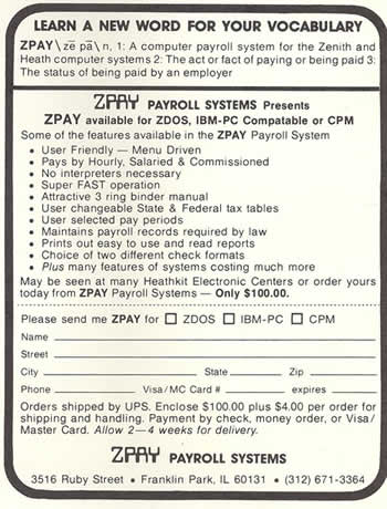 Ad from 1984 for ZPAY ZDOS and the IBM PC