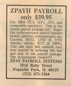 1986 Ad for ZPAYII