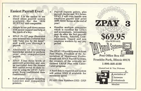 1991 Ad for ZPAY 3