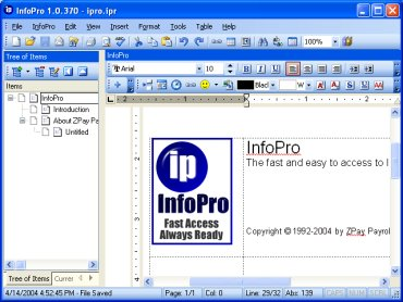infopro information manage store wordprocessor business reminder todo notes