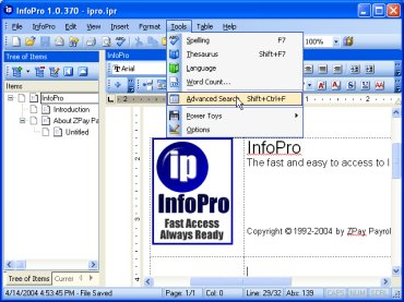 InfoPro Screenshot with Advanced Search Selection