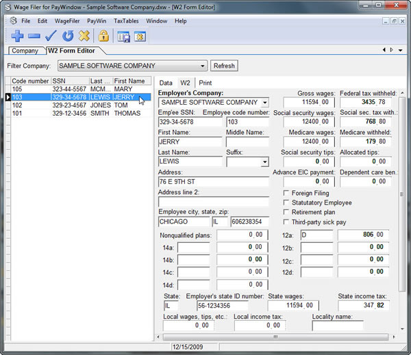 WageFiler for PayWindow screenshot: payroll,w2 forms,paywindow,941 form,electronic submission,tax reporting,taxes,employees